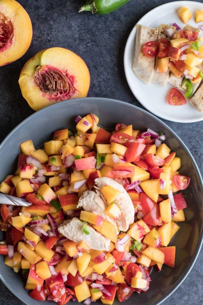 Fresh Peach Salad with Grilled Chicken is a summer must have! krollskorner.com