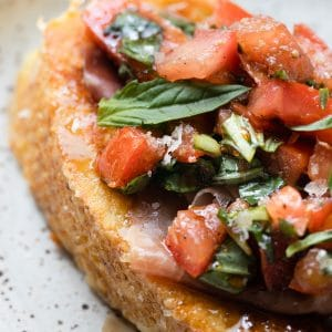french toast topped with Prosciutto Bruschetta