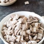 Rice chex with pumpkin pie flavors in a white bowl