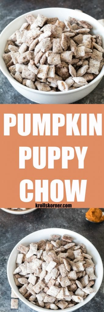 Take the traditional Puppy Chow and Fall it up a bit with this PUMPKIN Puppy Chow! krollskorner.com