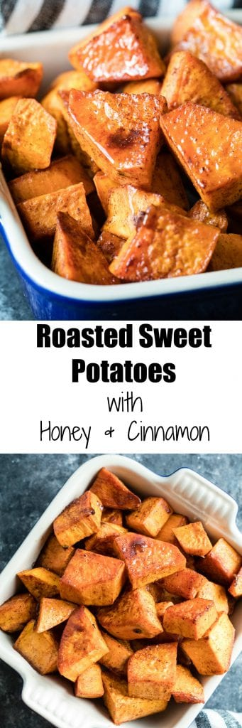 roasted sweet potatoes in a dish