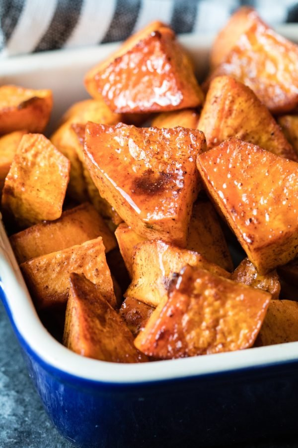 diced sweet potatoes with honey and cinnamon
