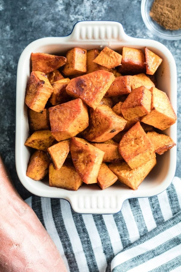 diced sweet potatoes in a small baking dish