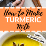 turmeric milk in a mug with star anise and cinnamon