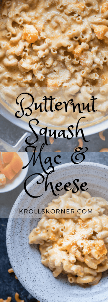 Mac and cheese made with butternut squash in a bowl