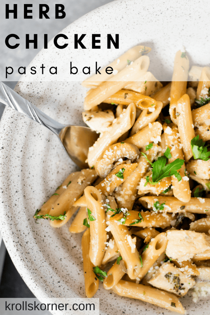 Do you like easy dinners? Yep - I knew you did. That's why I made this yummy Herb Chicken Pasta Bake just for you! Krollskorner.com