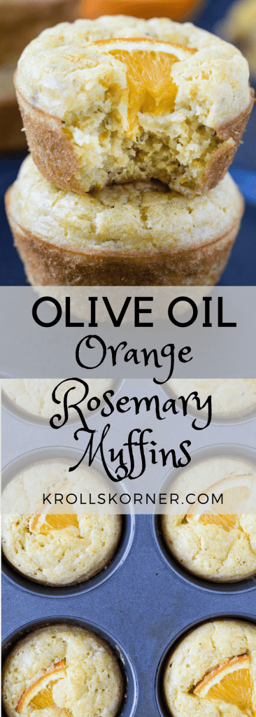 Olive Oil Orange Rosemary Muffins are a healthy way to start your morning or to bring to a brunch with friends! Olive Oil adds a great flavor - you'll love it! krollskorner.com