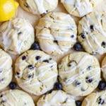 lemon blueberry cookies on parchment paper