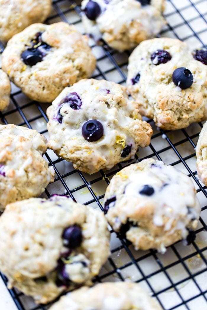 lemon blueberry cookies on a cooling rack