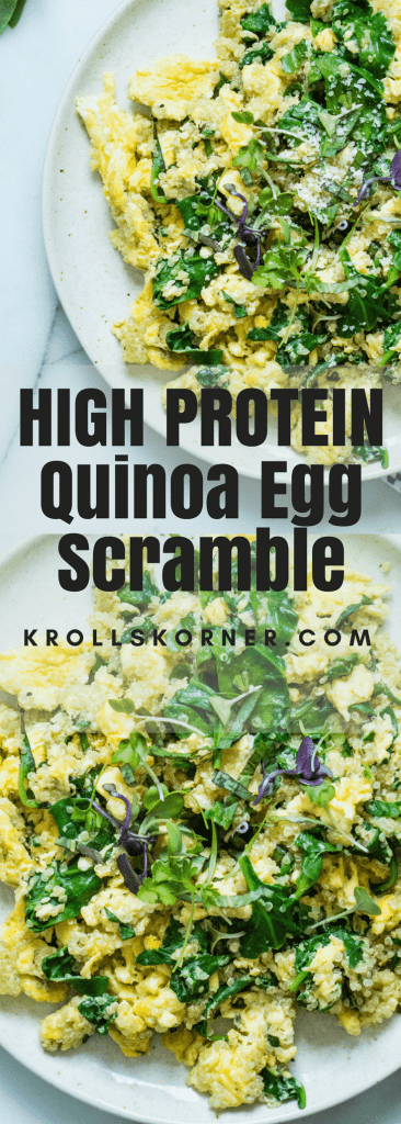 This High Protein Quinoa Egg Scramble is my FAVORITE go to breakfast when I want eggs! #eggs #breakfast #protein #quinoa #krollskorner #yummy #healthy