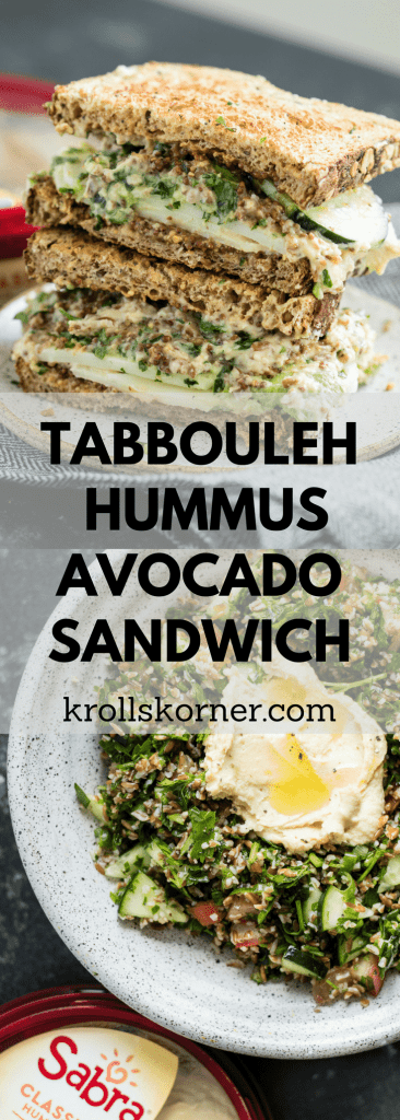 #AD Tabbouleh Hummus Avocado Sandwich - plant based, delicious, and flavorful! #sabra #krollskorner #sandwich #thereciperedux