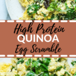 eggs on a white plate with spinach and quinoa