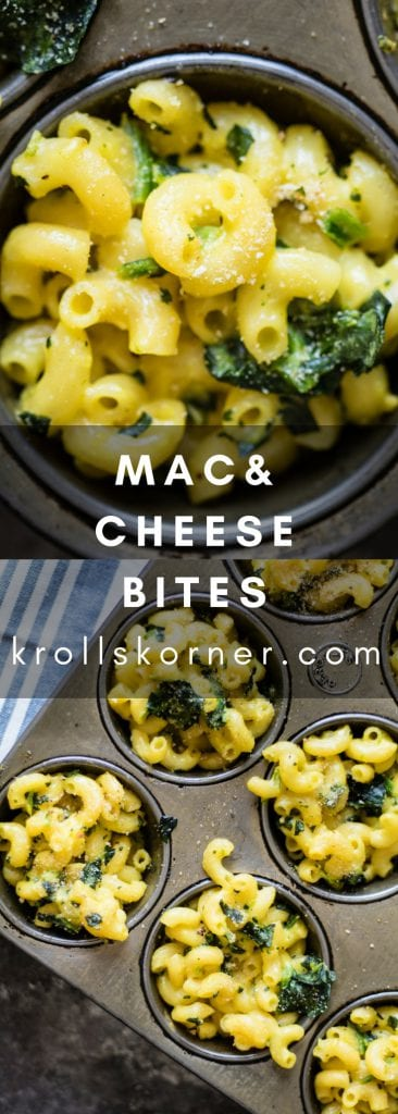 Individual Mac and Cheese Bites - not too cheesy but just the right amount! #macandcheese #yum #easy #krollskorner