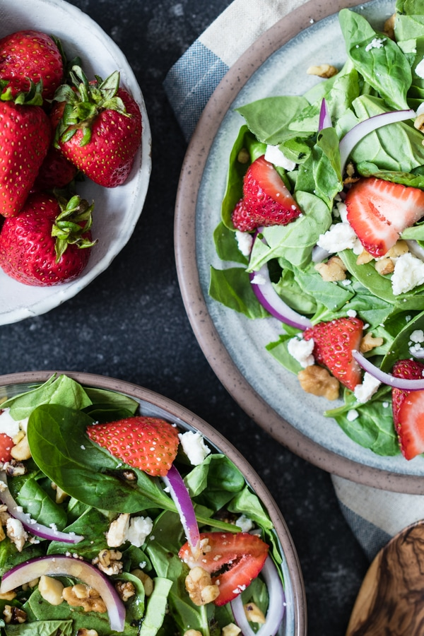 Strawberry Basil Salad - refreshing and perfect for Summer! krollskorner.com