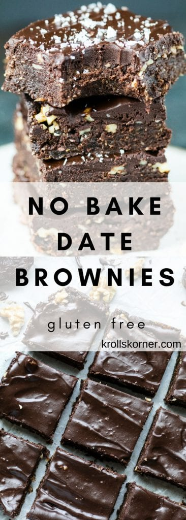 These no-bake brownies are easy to make, contian simple ingredients, are gluten-free, chocolate filled, and the best part? They taste incredible. #krollskorner #brownies #glutenfree #dessert #tasty