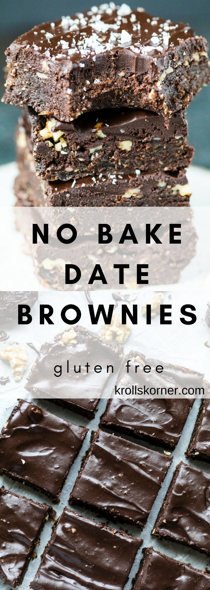 These no-bake brownies are easy to make, contain simple ingredients, are gluten-free, chocolate filled, and the best part? They taste incredible. #krollskorner #brownies #glutenfree #dessert #tasty