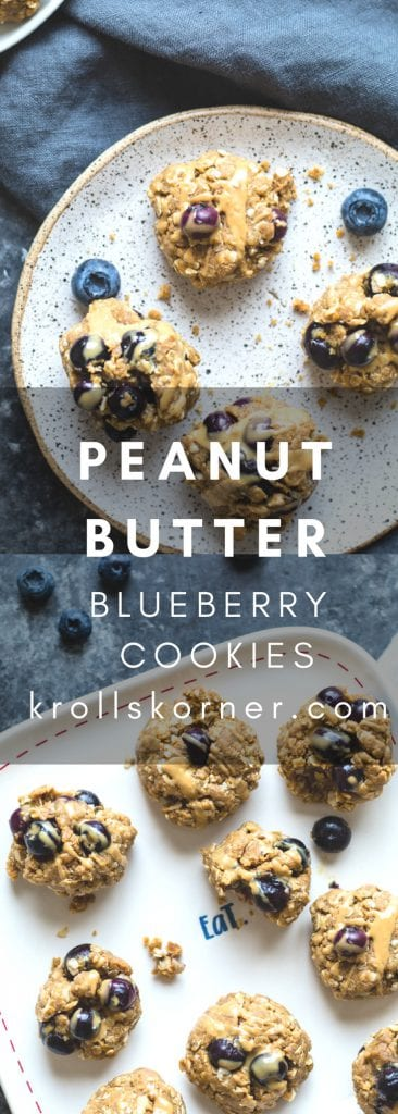 Peanut butter cookies with fresh blueberries on a plate with a blue napkin.