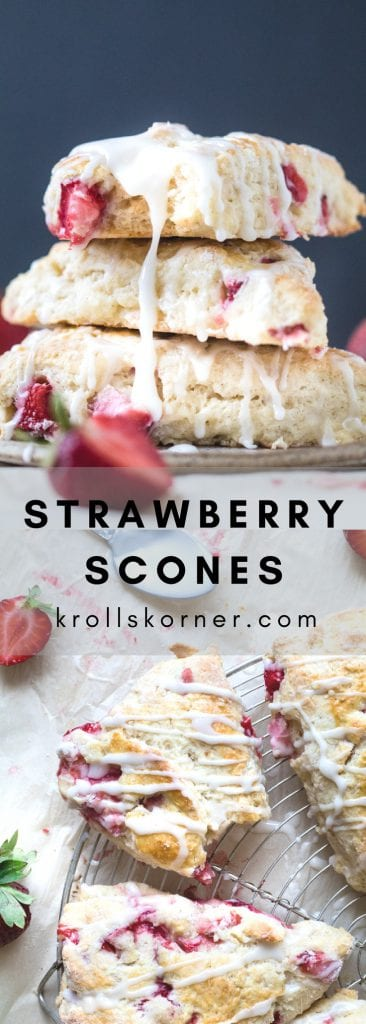 The Fluffiest Greek Yogurt Strawberry Scones you'll ever bite in to! #strawberry #scones #baking #krollskorner #greekyogurt
