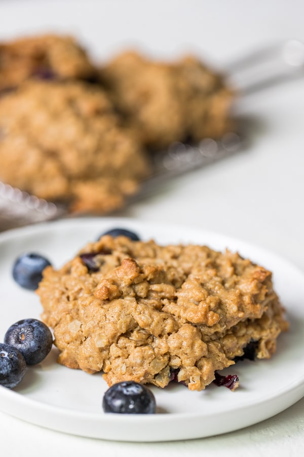 gluten free peanut butter blueberry cookie on a white plate