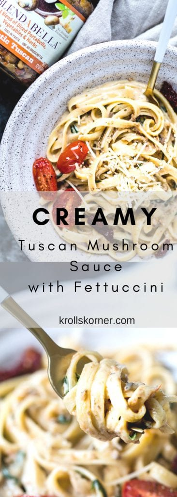 EASY Creamy Tuscan Mushroom Sauce with Fettuccini! Weeknight dinner you'll want on repeat! @BLENDABELLA #blendabella #zestymexican #rustictuscan #coconutthai #krollskorner