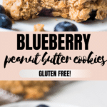 peanut butter cookies made with blueberries on parchment paper