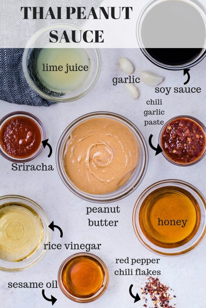Sauces in small bowls for Thai Peanut Sauce
