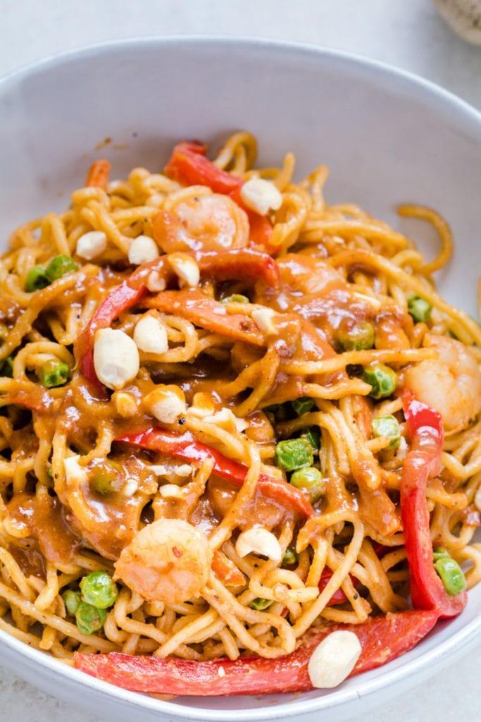 Thai Peanut Noodles in a bowl