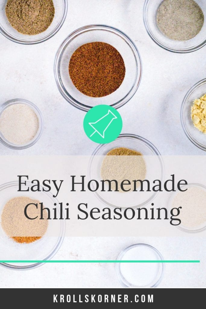 Seasonings for homemade chili seasoning in small glass bowls on a table