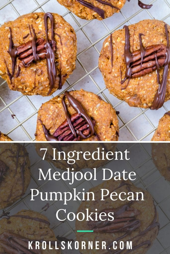 Pumpkin Pecan Cookies made with Medjool Dates topped with a pecan.