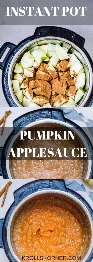 Applesauce cut up in cubes in an Instant Pot, Applesauce in an instant pot