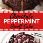 chocolate bundt cake with chocolate frosting and sugared cranberries