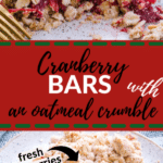 cranberry bars made with oatmeal crumble on a white speckled plate