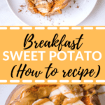 a sweet potato cooked and filled with bananas and peanut butter