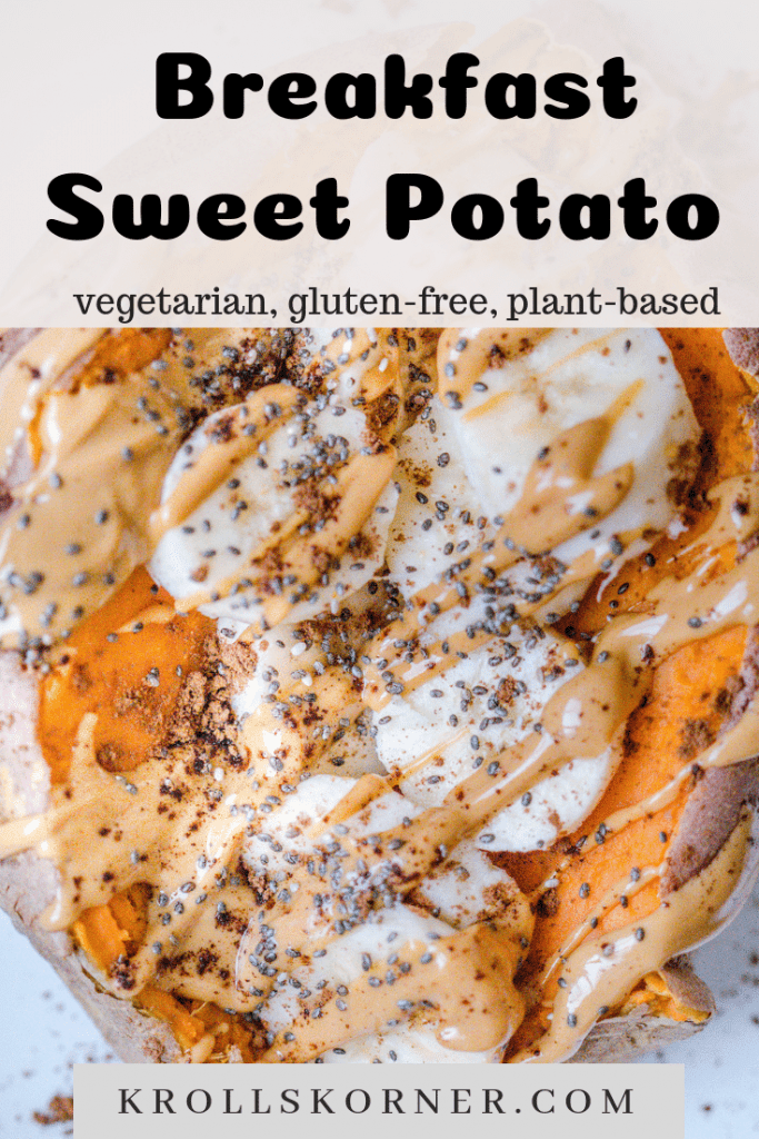 A sweet potato on a white plate filled with banana slices, peanut butter, chia seeds and cinnamon.
