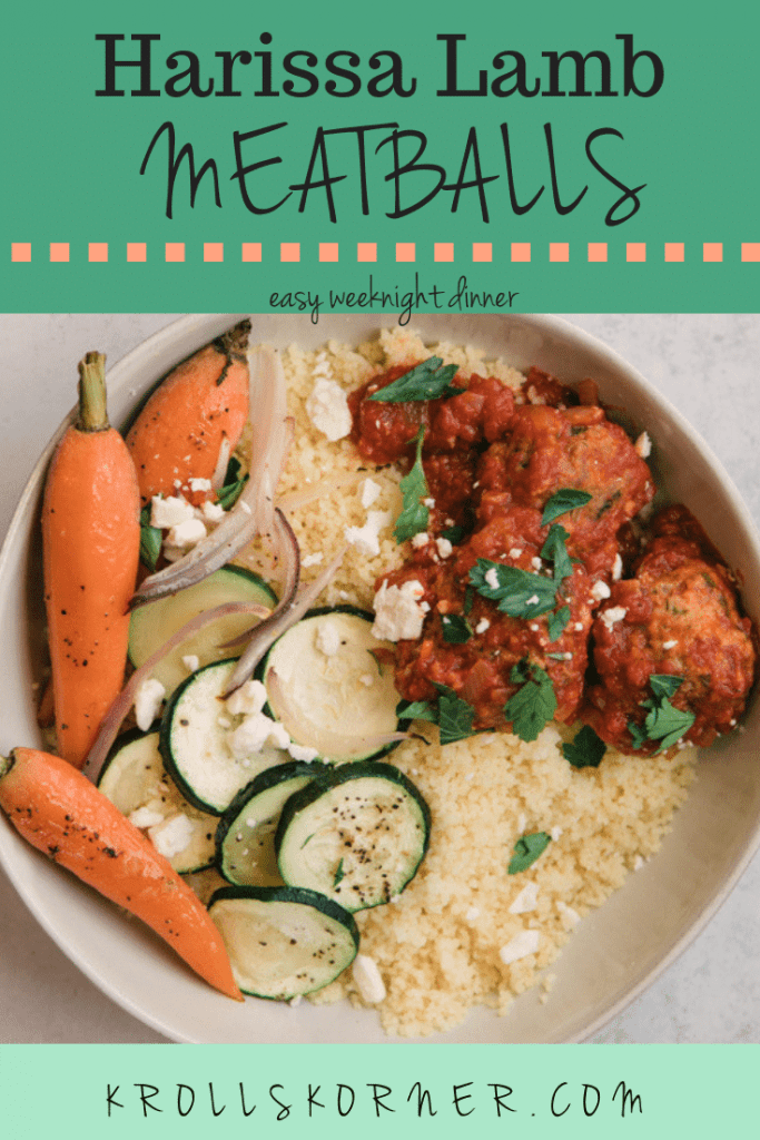 harissa meatballs with veggies and couscous in a white bowl