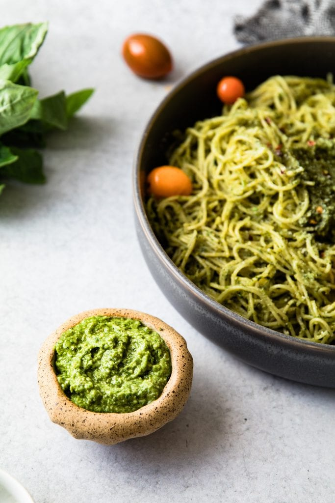 avocado pesto in a small bowl