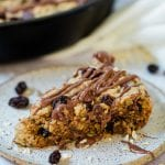 oatmeal raisin cookie skillet on a plate