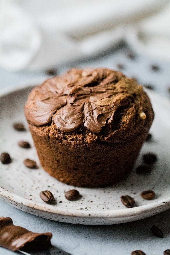 nutella coffee muffins on a plate