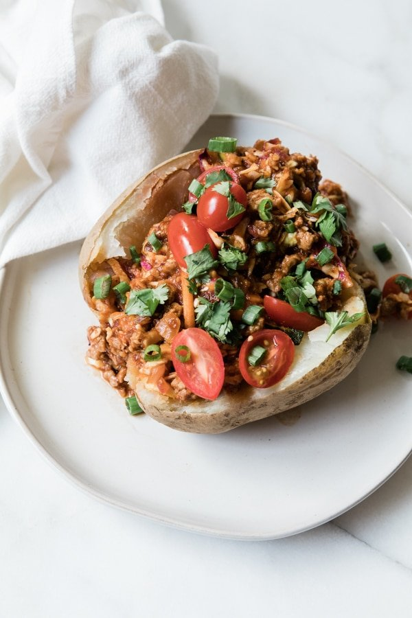 baked potato filled with ground turkey