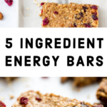 energy bars on a white board made with cranberries and almonds