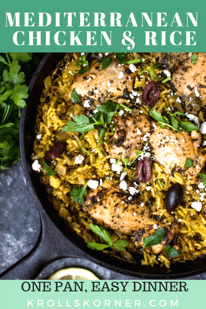 mediterranean chicken and rice in a cast iron skillet