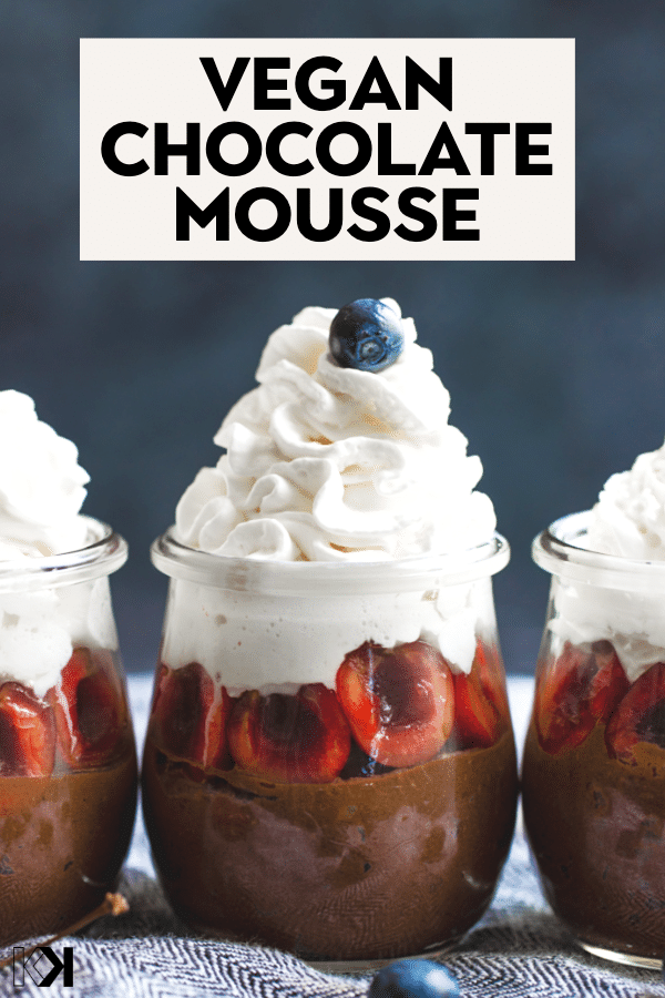 chocolate mousse in a glass jar with coconut cream