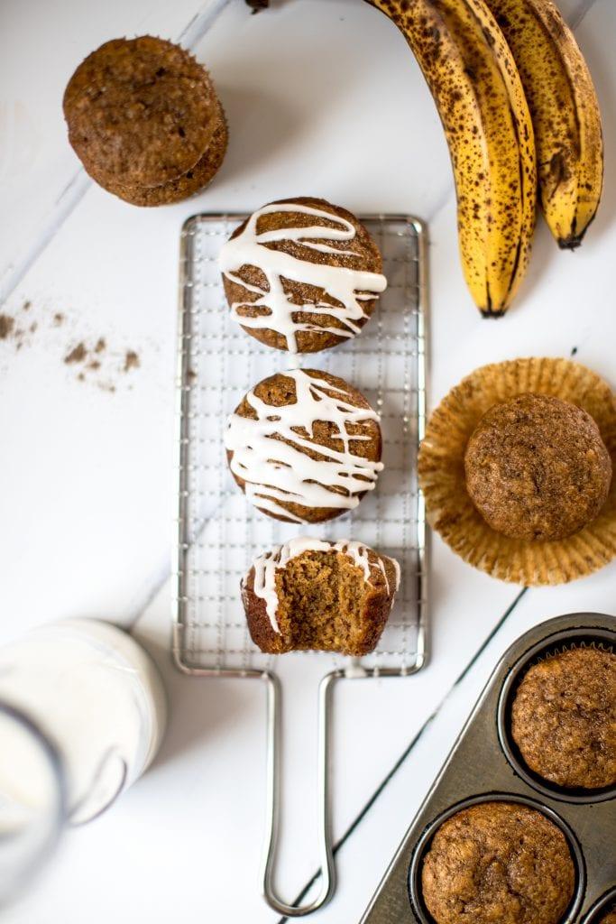 banana bread muffins on a white board