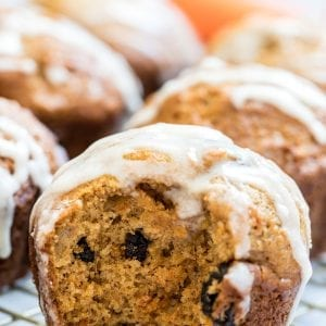 carrot cake muffins on a cooling rack