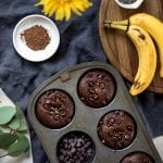 jumbo chocolate muffins in a muffin tin