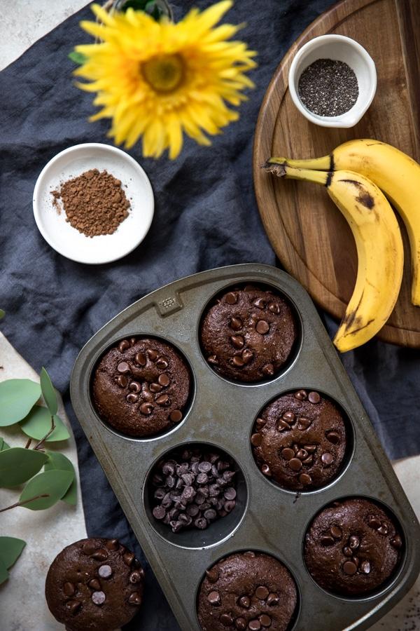 jumbo chocolate muffins in a muffin tin
