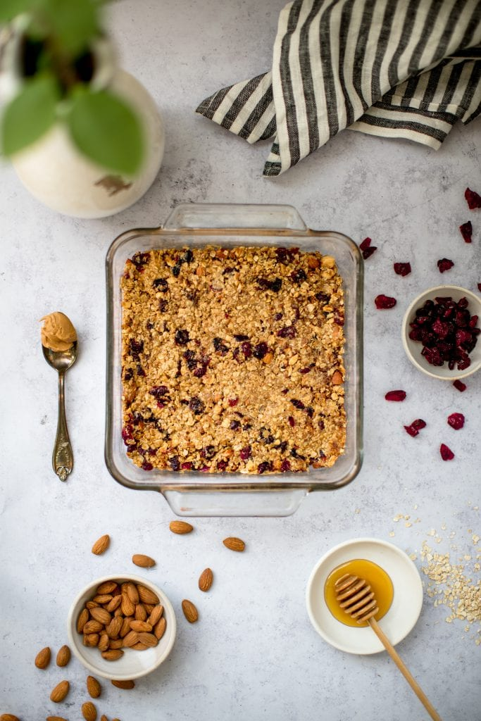 homemade granola bars in a baking dish