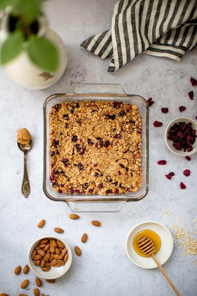 homemade granola bars in a baking dish