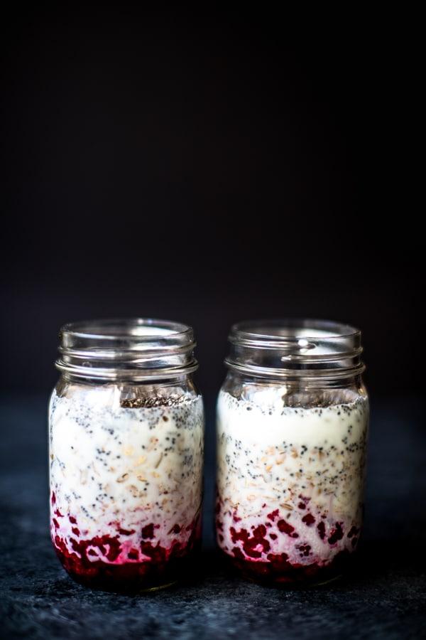 Muesli Raspberry overnight oats in a mason jar