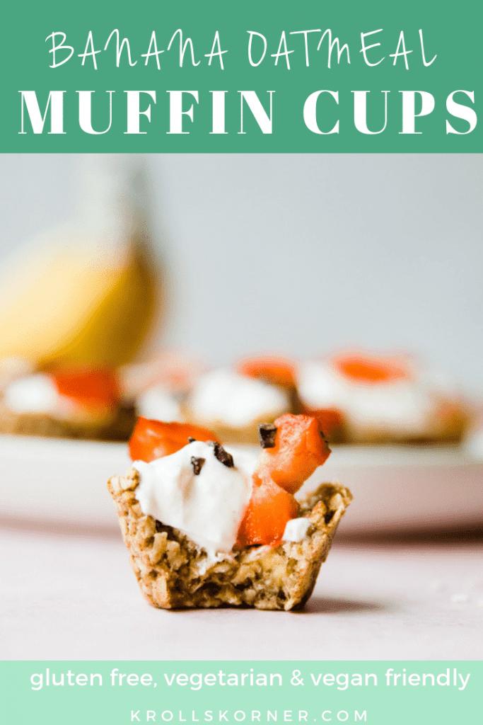 mini oatmeal banana cups filled with yogurt and strawberries
